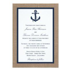 The Navy Anchor On Burlap Beach Wedding Collection Invitation Card
