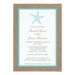 Turquoise Starfish Beach Burlap Bridal Shower Invitation Card