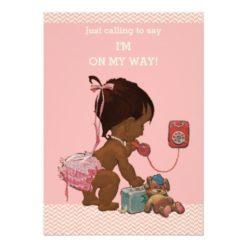 Vintage Ethnic Baby On Phone Baby Shower Chevrons Invitation Card