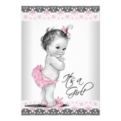 Vintage Pink And Gray Baby Girl Shower Invitation Card