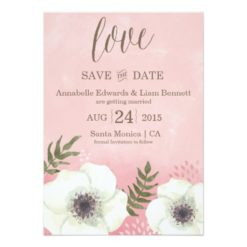 Pink Watercolor With Anemones Save The Date Invitation Card