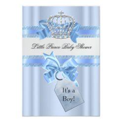 Baby Shower Boy Blue Little Prince Crown Invitation