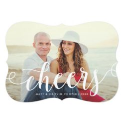 Calligraphy Cheers New Year Holiday Photo Card