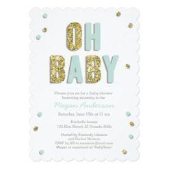 Confetti Bling Blue Gold Baby Shower Invite