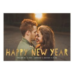 Happy New Year Gold   New Year Holiday Photo Card