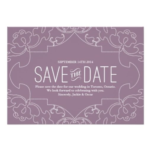 Lacy Save The Date Orchid Or Violet Invitation