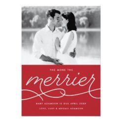 Merrier Pregnancy Announcement Christmas Card