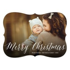Merry Christmas Script Modern Holiday Photo Card