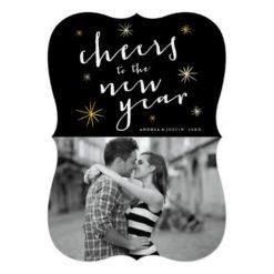 New Year Cheers Script Gold Starburst Photo Card