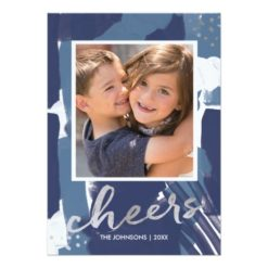 Painted Cheers Silver And Blue Abstract New Year's Invitation