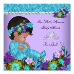 Princess Baby Shower Girl Teal Blue Purple Invitation