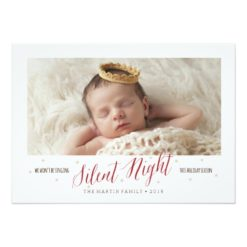 Silent Night Baby'S First Christmas Holiday Invitation
