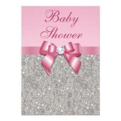 Silver Gems Bow & Diamonds Girls Pink Baby Shower Invitation