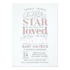 Twinkle Twinkle Star Theme Baby Shower Invitation