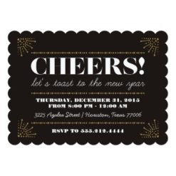 Cheers! Art Deco Fancy New Years Eve Party Invitation Card
