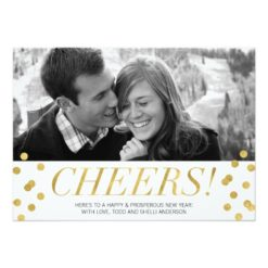 Cheers! Gold Confetti New Years Photo Holiday Card