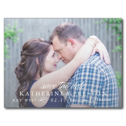 Classic Stripes Save The Date Post Card In Blue