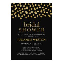 Glitter Gold And Black Confetti Bridal Shower Invitation
