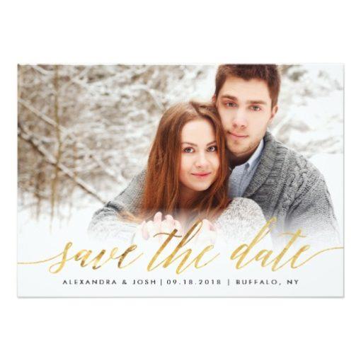 Gold Script Photo Save The Date In Faux Foil Invitation