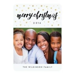 Gold Stars Merry Christmas Holiday Photo Card