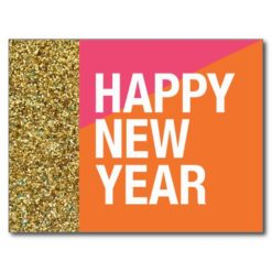 Happy New Year Postcard Gold Glitter Postcard