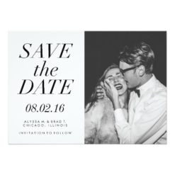 Modern Typography Photo Save The Date Invitation Card