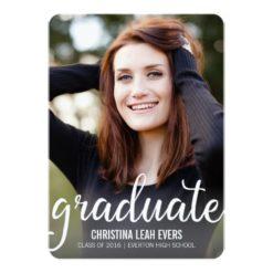 Pretty Script Modern Photo Graduation Announcement