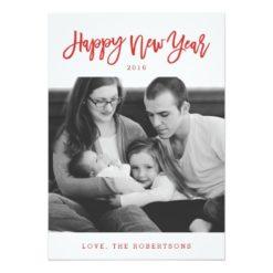 Red Stylish Script Happy New Year Photo Card