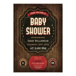 Rustic Vintage Baby Shower Chalkboard & Wood Invitation