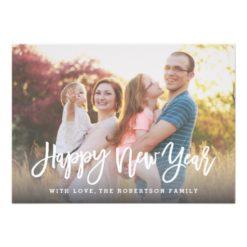 Stylish Script Happy New Year Photo Card