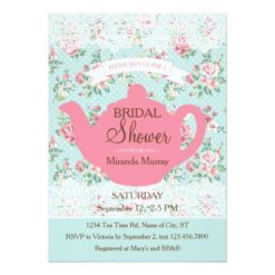 Vintage Teapot With Roses And Lace Border Invitation