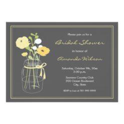 Yellow And Grey Mason Jar Bridal Shower Invitation