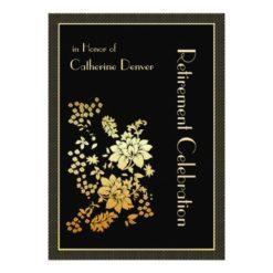 Golden Floral Retirement Party Invitations