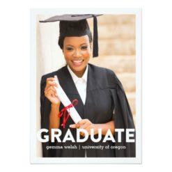 Modern Text Overlay Photo Graduation Announcement