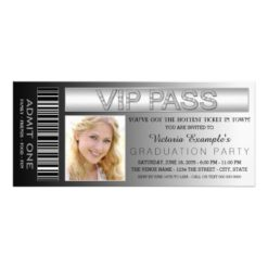 Black Vip Pass Admission Ticket Graduation Party Invitation Card