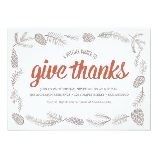 Give Thanks Potluck Invitation Card