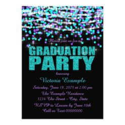 Purple And Teal Confetti Graduation Party Invitation Card