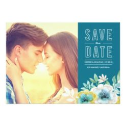 Watercolor Floral Photo Save The Dates Invitation Card