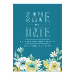 Watercolor Floral Save The Dates Invitation Card