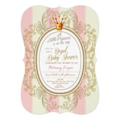 Blush Gold Royal Princess Baby Shower Invitation