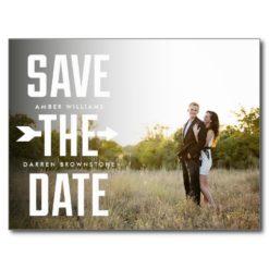 Bold Arrow Photo Modern Type Save The Date Postcard