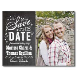 Chalkboard Photo Save The Date Postcard