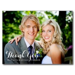 Elegantly Scripted Wedding Thank You Postcard