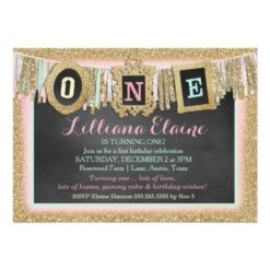 Gold Glitter First Birthday Banner Invitation Card