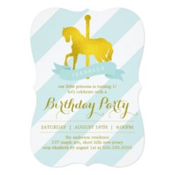 Mint Carousel Horse Birthday Party Invitation Card
