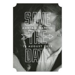 Modern Arrow Overlay Photograph Save The Date Card