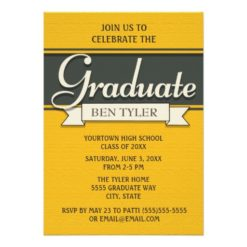 Navy Blue And Yellow Graduation Party Invitation