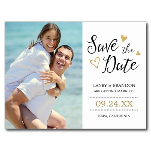 Sweet Love Photo Save The Date Postcard / Gold