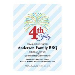 4th Of July Family Bbq Fireworks & Stripes Invitation