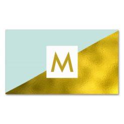 Modern Faux Gold Foil Mint Monogram Business Card
